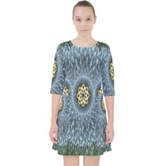 Hipnotic Star Space White Green Pocket Dress