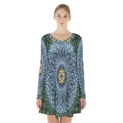 Hipnotic Star Space White Green Long Sleeve Velvet V Neck Dress