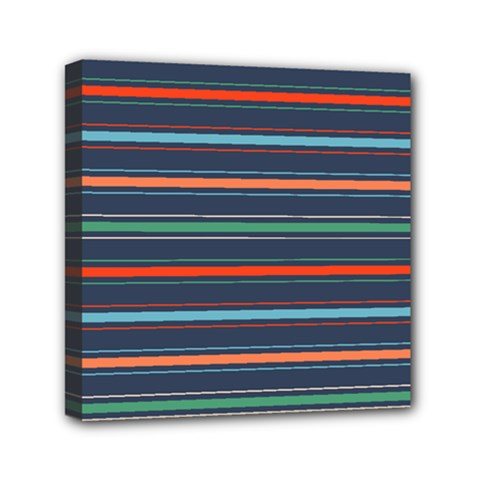 Horizontal Line Blue Green Mini Canvas 6  X 6