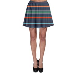 Horizontal Line Blue Green Skater Skirt