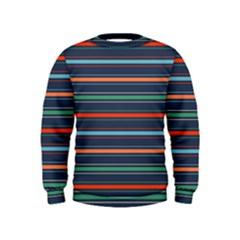 Horizontal Line Blue Green Kids  Sweatshirt