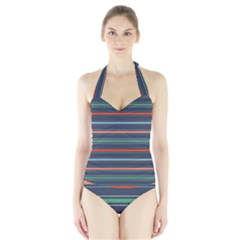 Horizontal Line Blue Green Halter Swimsuit