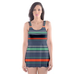 Horizontal Line Blue Green Skater Dress Swimsuit