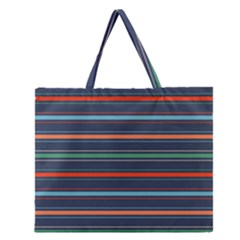Horizontal Line Blue Green Zipper Large Tote Bag