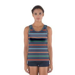 Horizontal Line Blue Green Sport Tank Top