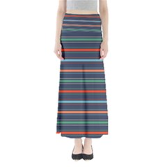 Horizontal Line Blue Green Full Length Maxi Skirt