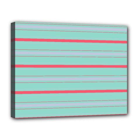 Horizontal Line Blue Red Canvas 14  X 11