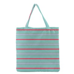 Horizontal Line Blue Red Grocery Tote Bag