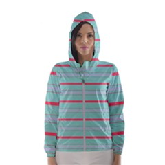 Horizontal Line Blue Red Hooded Wind Breaker (women)
