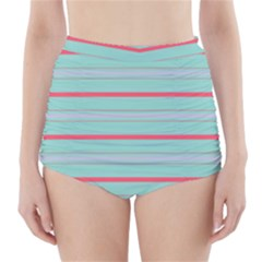 Horizontal Line Blue Red High Waisted Bikini Bottoms