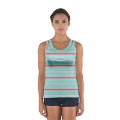 Horizontal Line Blue Red Sport Tank Top