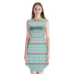 Horizontal Line Blue Red Sleeveless Chiffon Dress