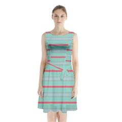 Horizontal Line Blue Red Sleeveless Waist Tie Chiffon Dress