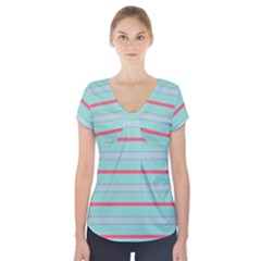 Horizontal Line Blue Red Short Sleeve Front Detail Top