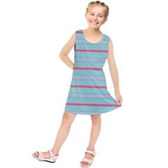 Horizontal Line Blue Red Kids  Tunic Dress