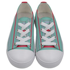 Horizontal Line Blue Red Kids  Low Top Canvas Sneakers