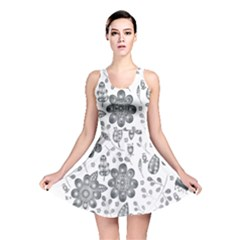 Grayscale Floral Heart Background Reversible Skater Dress