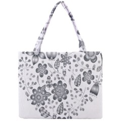 Grayscale Floral Heart Background Mini Tote Bag