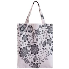 Grayscale Floral Heart Background Classic Tote Bag