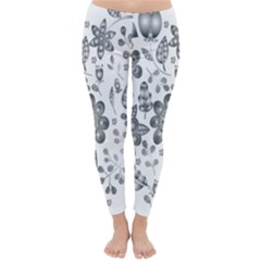 Grayscale Floral Heart Background Classic Winter Leggings