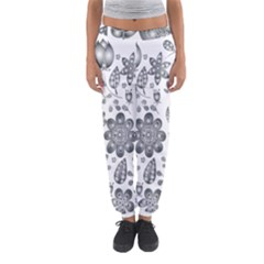 Grayscale Floral Heart Background Women s Jogger Sweatpants