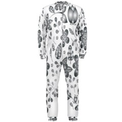 Grayscale Floral Heart Background Onepiece Jumpsuit (men)