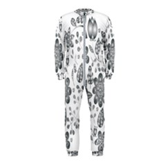 Grayscale Floral Heart Background Onepiece Jumpsuit (kids)