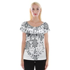 Grayscale Floral Heart Background Cap Sleeve Tops