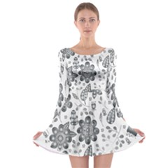 Grayscale Floral Heart Background Long Sleeve Skater Dress