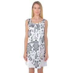 Grayscale Floral Heart Background Sleeveless Satin Nightdress
