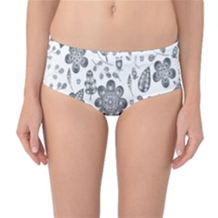 Grayscale Floral Heart Background Mid Waist Bikini Bottoms