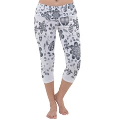 Grayscale Floral Heart Background Capri Yoga Leggings