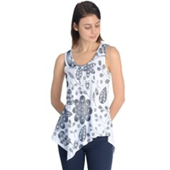 Grayscale Floral Heart Background Sleeveless Tunic