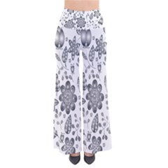 Grayscale Floral Heart Background Pants