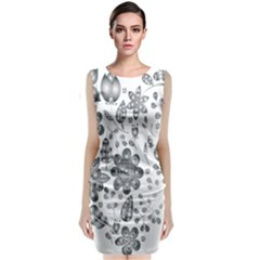 Grayscale Floral Heart Background Classic Sleeveless Midi Dress