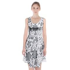 Grayscale Floral Heart Background Racerback Midi Dress