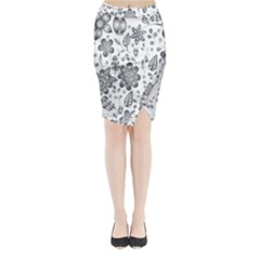 Grayscale Floral Heart Background Midi Wrap Pencil Skirt