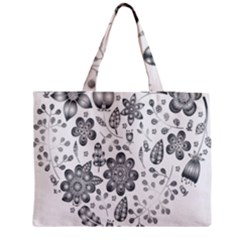 Grayscale Floral Heart Background Medium Tote Bag