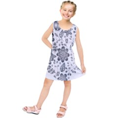Grayscale Floral Heart Background Kids  Tunic Dress