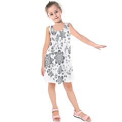 Grayscale Floral Heart Background Kids  Sleeveless Dress