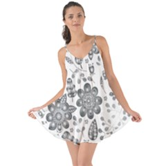 Grayscale Floral Heart Background Love The Sun Cover Up