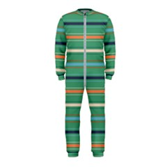 Horizontal Line Green Red Orange Onepiece Jumpsuit (kids)