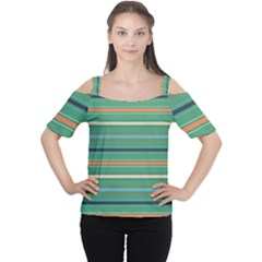 Horizontal Line Green Red Orange Cutout Shoulder Tee