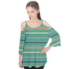 Horizontal Line Green Red Orange Flutter Tees