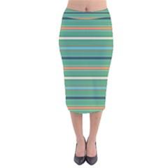 Horizontal Line Green Red Orange Velvet Midi Pencil Skirt