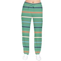 Horizontal Line Green Red Orange Drawstring Pants