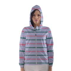 Horizontal Line Green Pink Gray Hooded Wind Breaker (women)