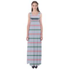 Horizontal Line Green Pink Gray Empire Waist Maxi Dress