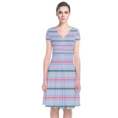 Horizontal Line Green Pink Gray Short Sleeve Front Wrap Dress
