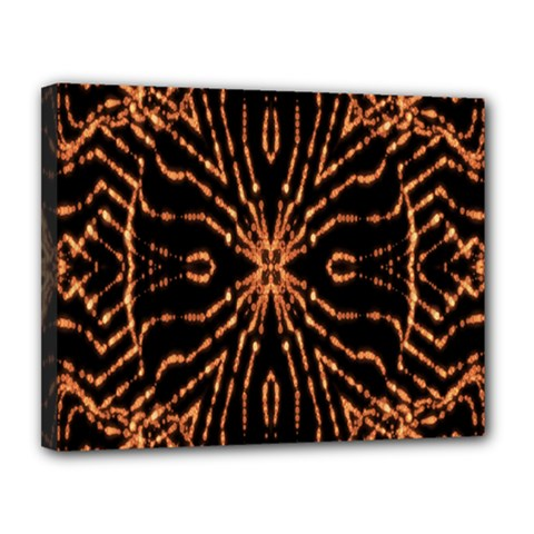 Golden Fire Pattern Polygon Space Canvas 14  X 11